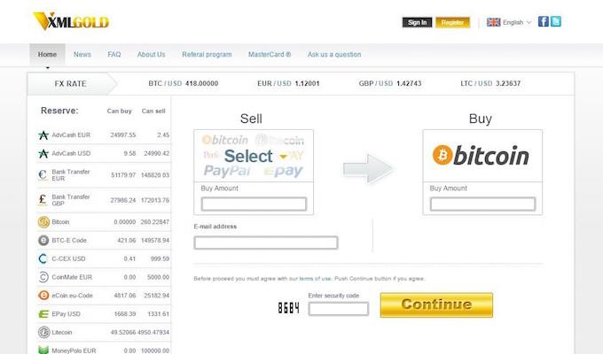 XMLGold casa de cambios bitcoin