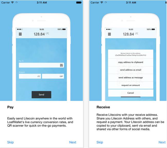 Aplicación Loafwallet para iOS. Fuente: App Store