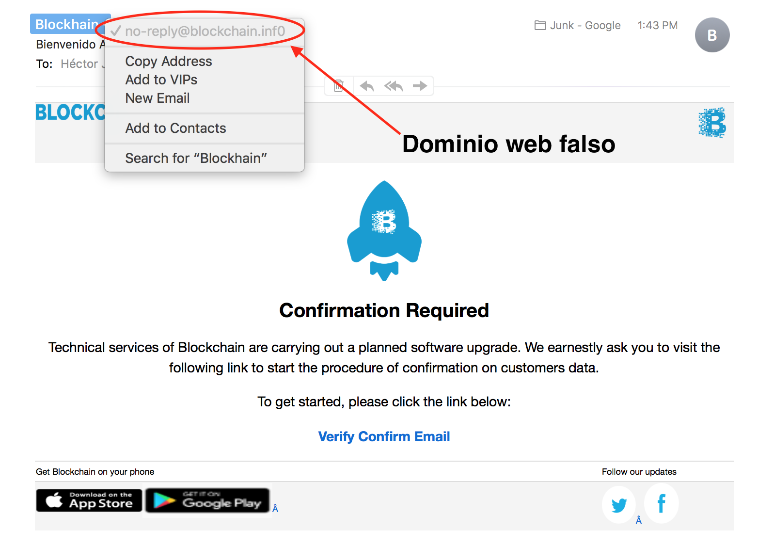 Falsificación Blockchain.info Robo Bitcoins