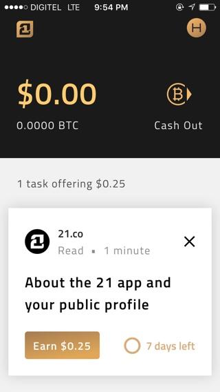 21 Inc Bitcoin tareas mensajes
