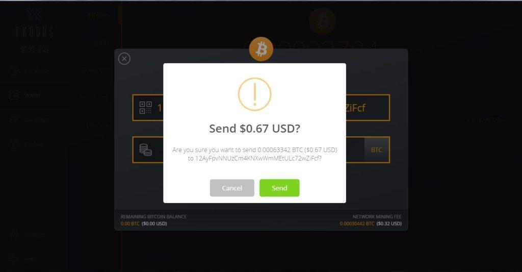 confirmación en pantalla de la transacción en Exodus
