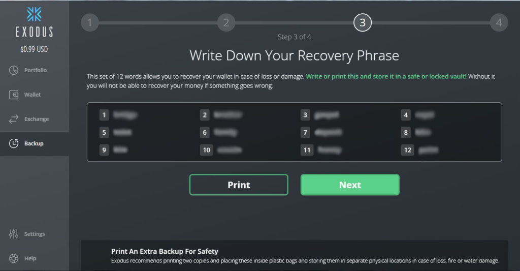 ventana para crear frase de recuperación del monedero Exodus