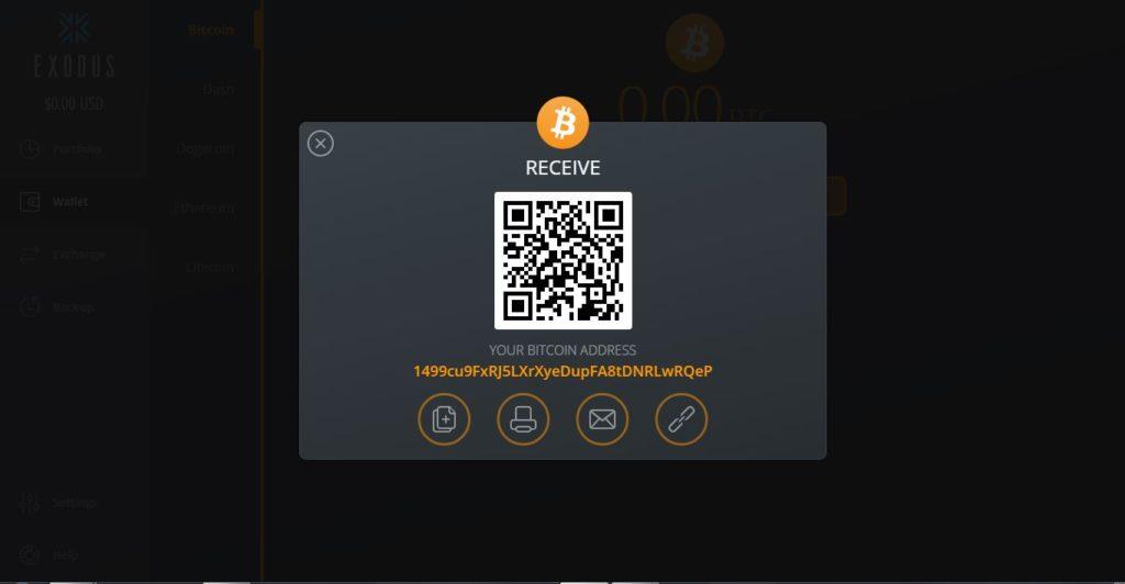 Recibir bitcoin en una cartera Exodus