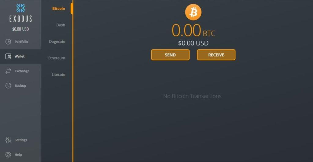 Envío y recepción de bitcoin en Exodus