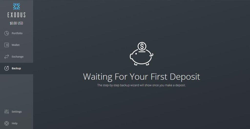 mensaje de espera de depósitos de Exodus