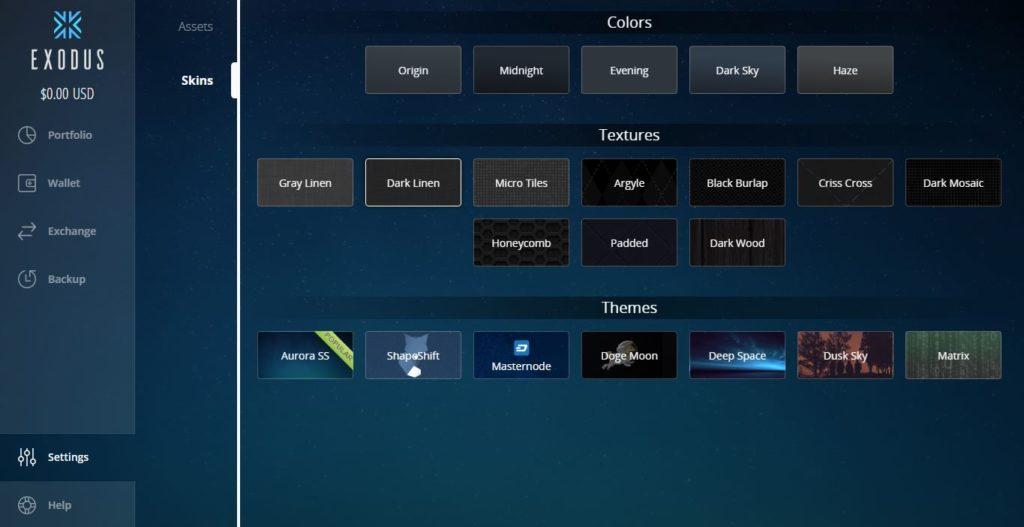 temas disponibles en Exodus para personalizar la App