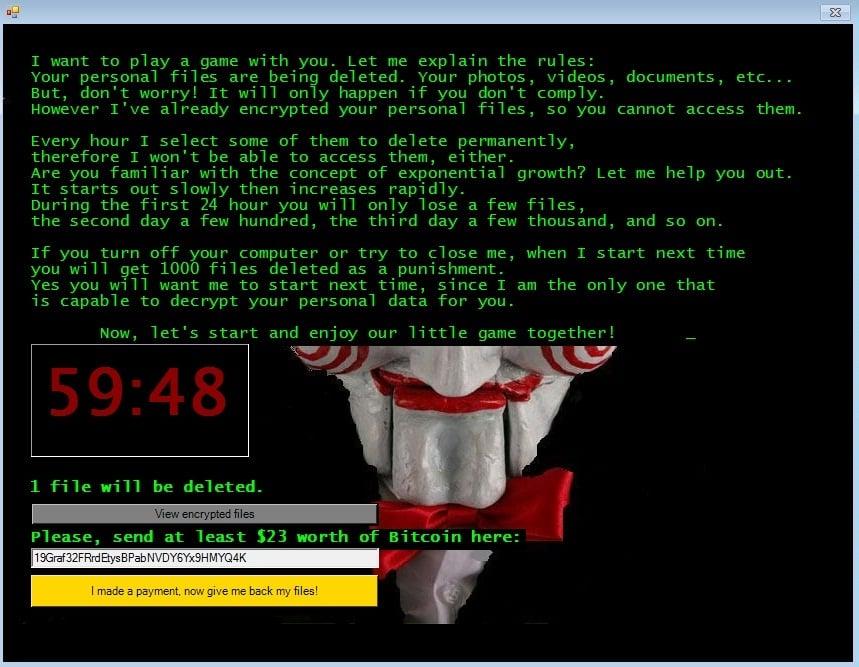 Jigsaw Juego Ransomware Bitcoin