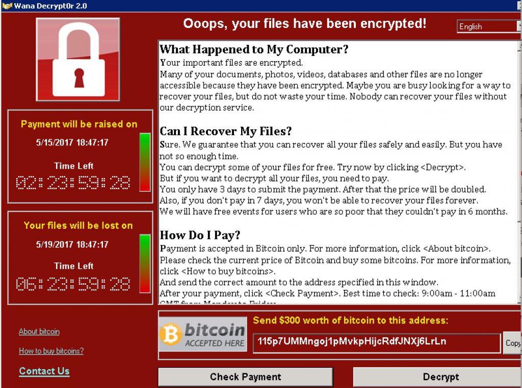 Nota de rescate del ransomware WannaCry