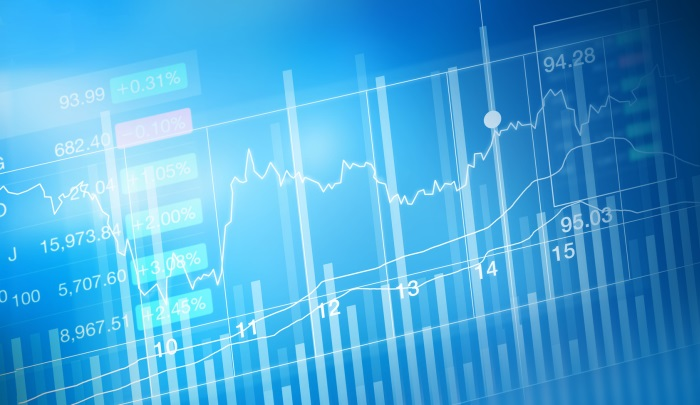 stock market investment trading, candle stick graph chart, trend of graph, Bullish point, Bearish point, soft and blur
