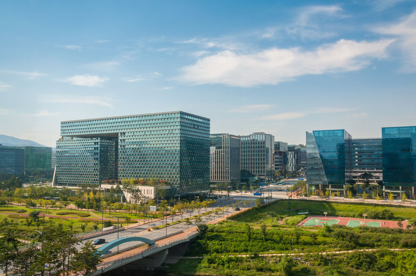 32011347 - the business district of pangyo, a new urban development just outside of seoul, south korea.