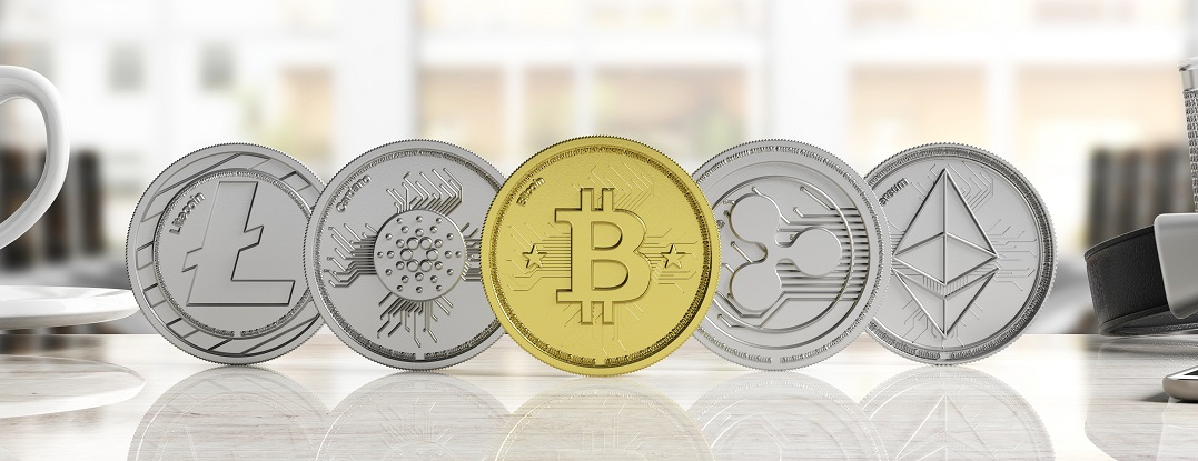Cryptocurrency concept. Golden bitcoin and variety of silver virtual coins on blur background, banner, front view. 3d illustration