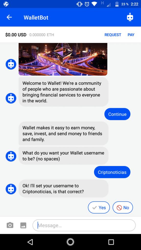 Un bot ayuda a crear un usuario en Coinbase Wallet