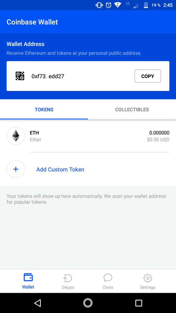 monedero Coinbase Wallet para dApps y tokens de Ethereum