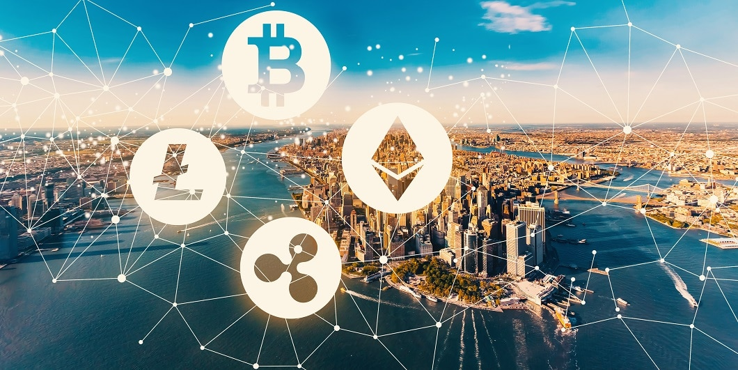 Cryptocurrency aerial view of the Manhattan, NY skyline