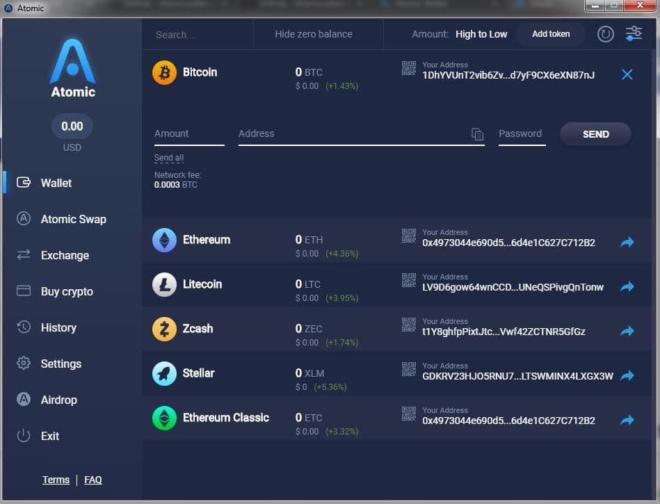 Enviar criptomonedas con el monedero Atomic Wallet