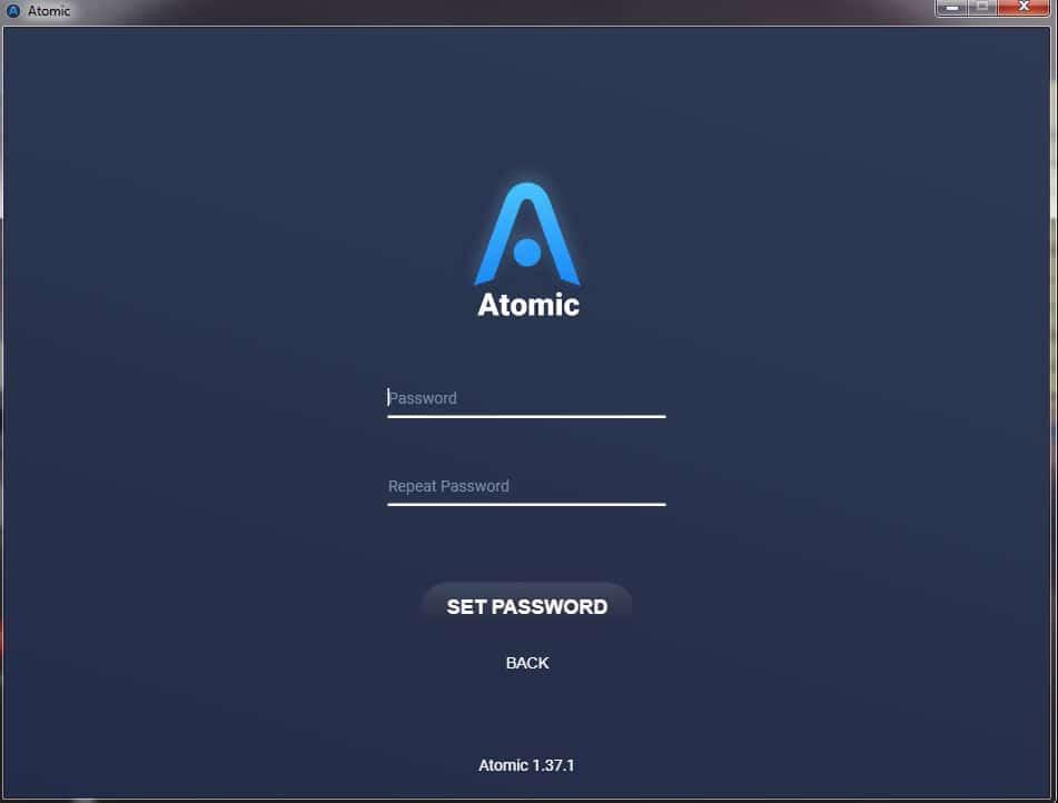 password en el monedero Atomic Wallet