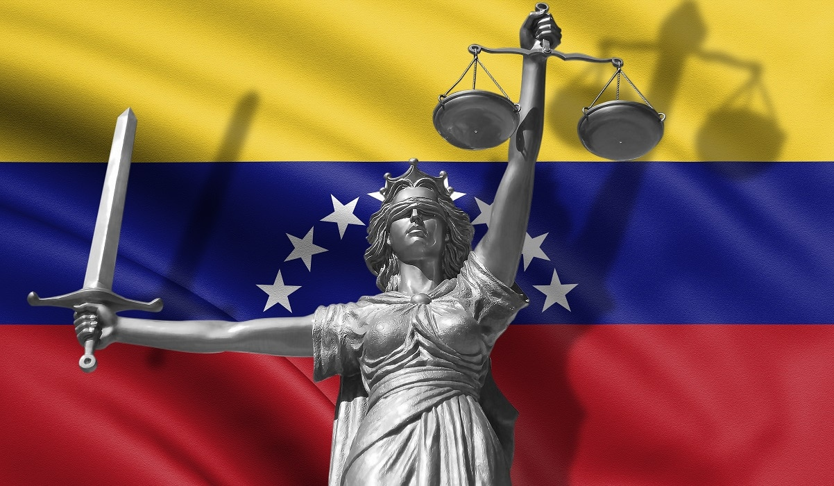 Cover about Law. Statue of god of justice Themis with Flag of Venezuela background. Original Statue of Justice. Femida, with scale, symbol of justice with waving Venezuela flag, 3d rendering. - Illustration