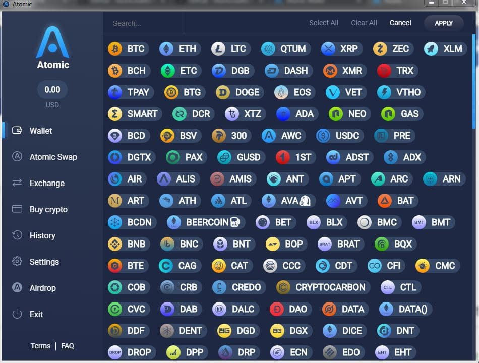 lista de monedas y configuración del monedero Atomic Wallet