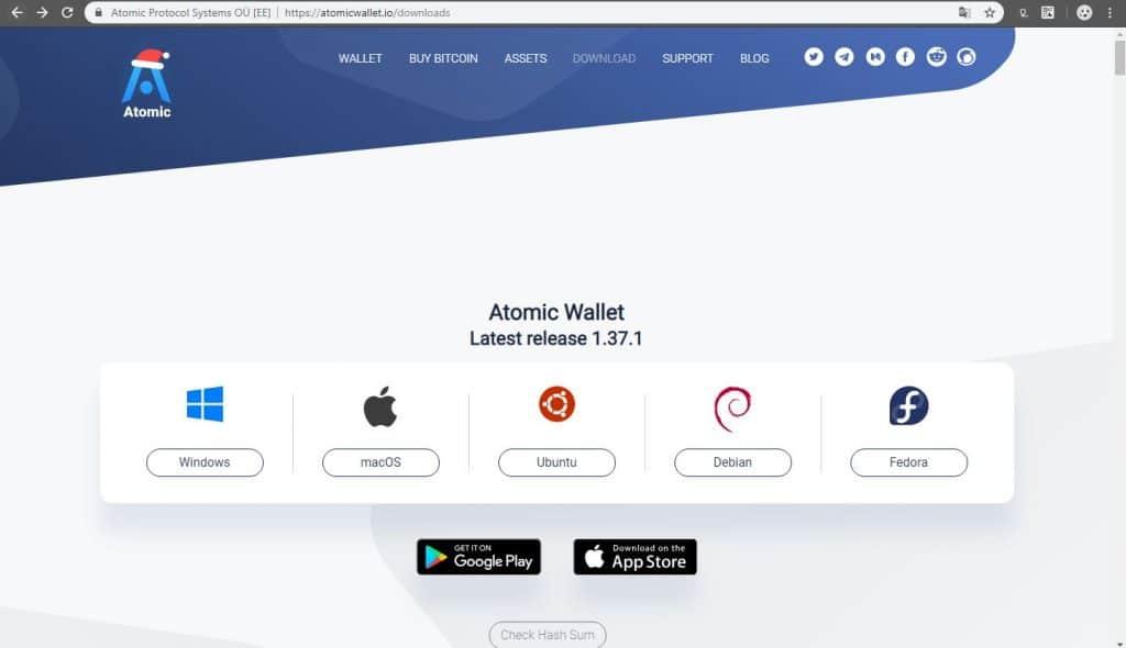 sistemas operativos que soportan el monedero Atomic Wallet
