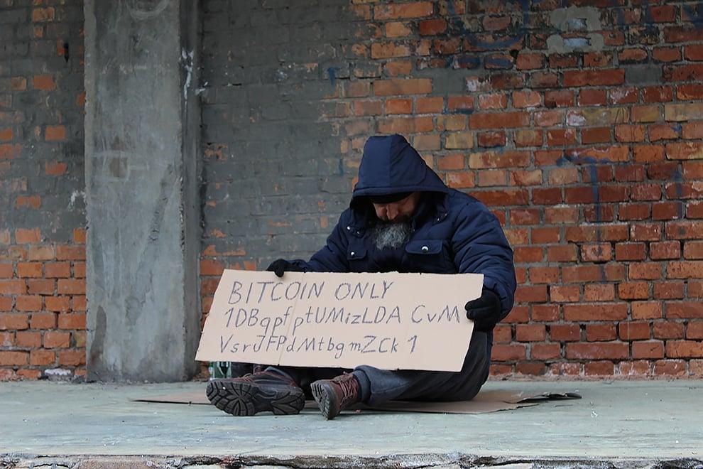 Cripto-mendigo-donación-callejera