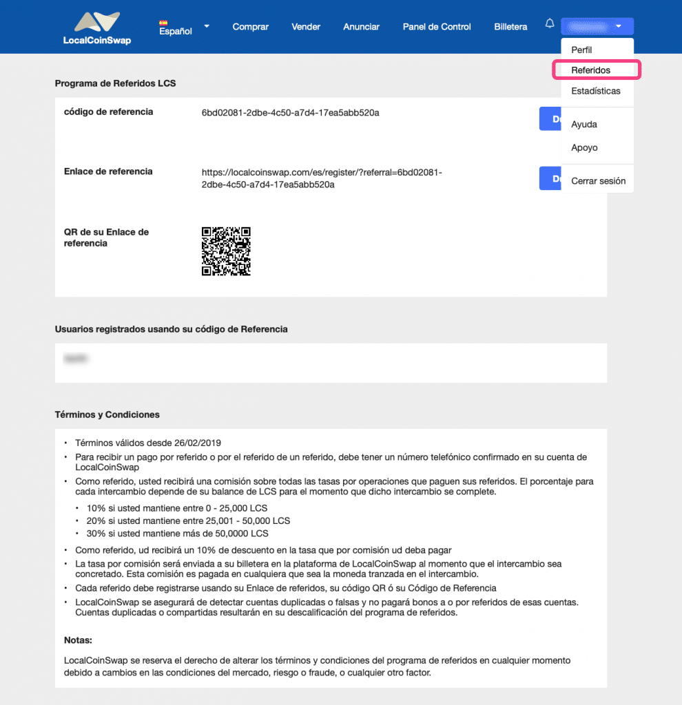 Programa de referidos de LocalCoinSwap