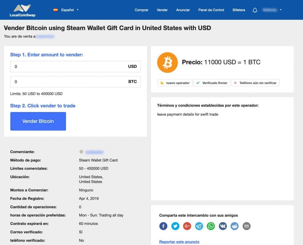 Ejemplo de anuncio de venta de bitcoin en LocalCoinSwap.