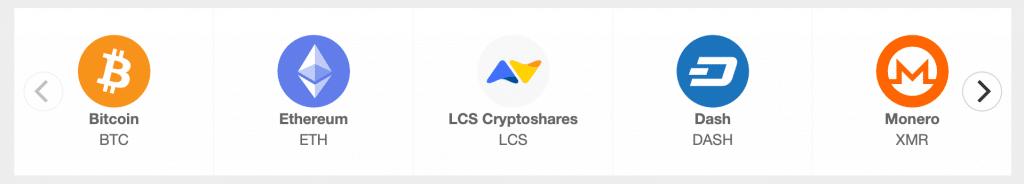 Carrusel de criptoactivos disponibles para transacciones en LCS.