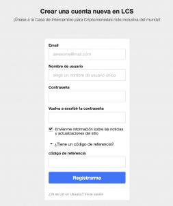 Formulario de registro en LocalCoinSwap