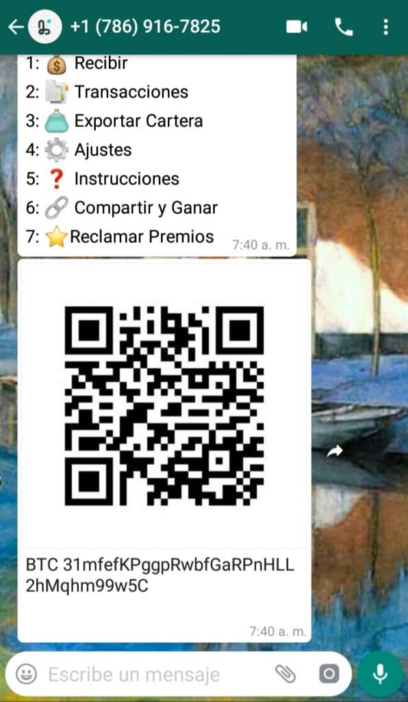 Puedes enviar bitcoin por WhatsApp con este monedero
