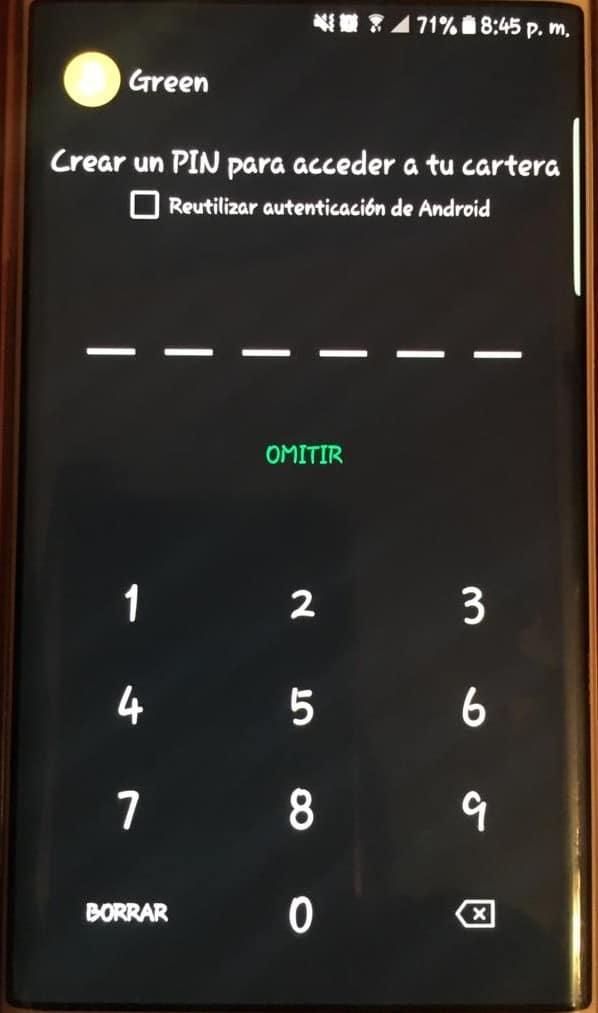 PIN de seguridad de Green Wallet