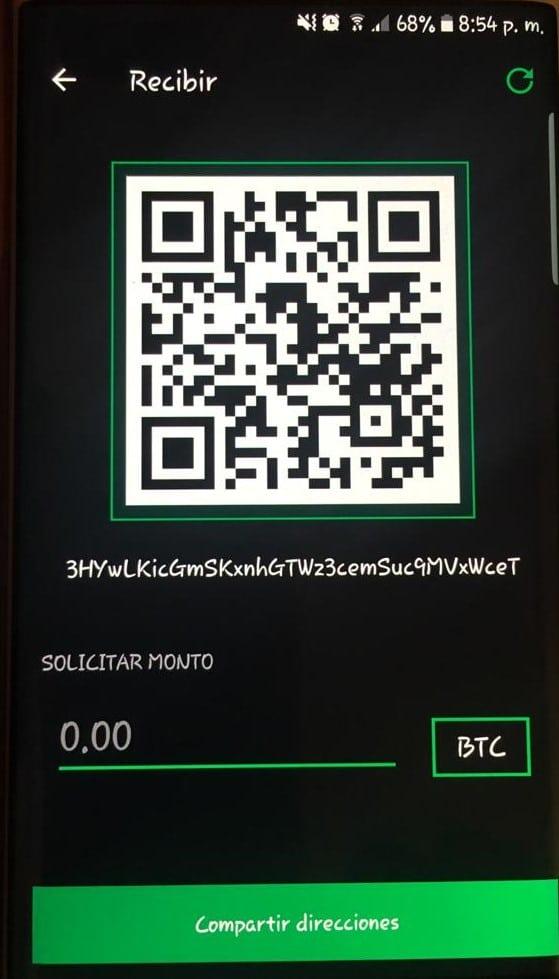dirección pública para recibir bitcoin con Green