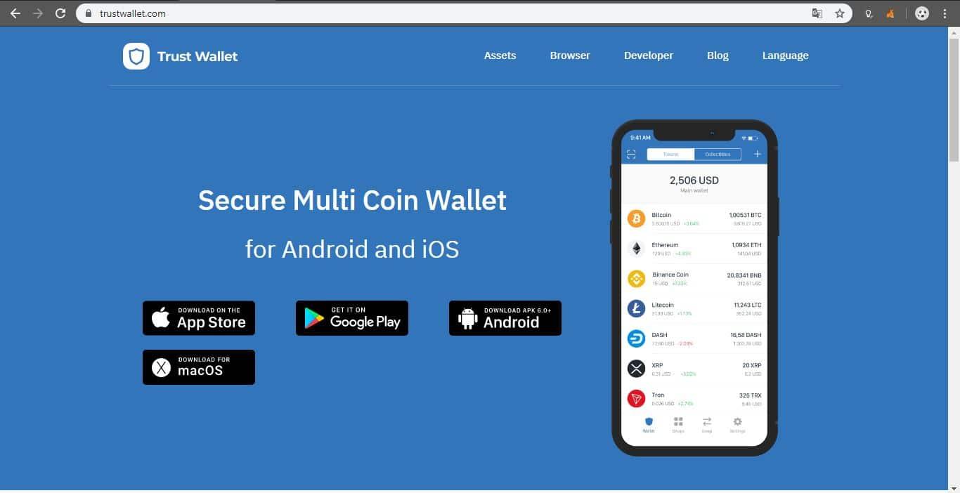 Portal principal de Trust Wallet