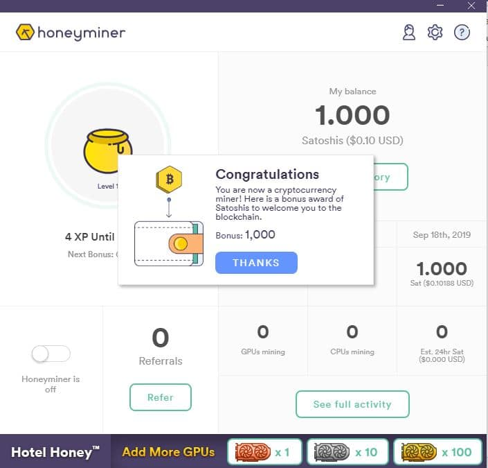 honeyminer inicio