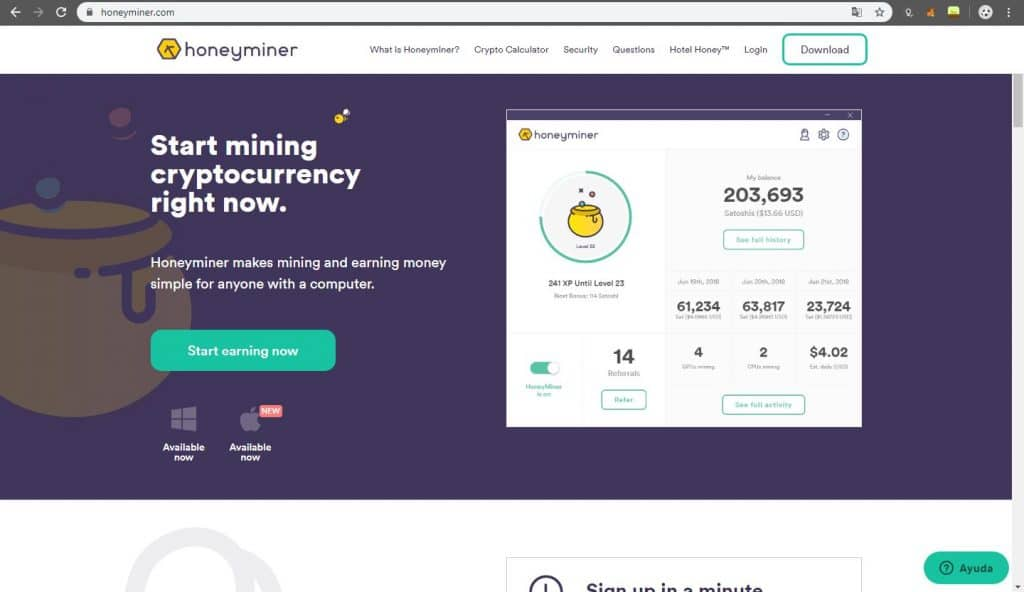 pagina principal de honeyminer