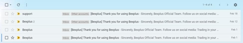 cuentas anónimas en Bexplus