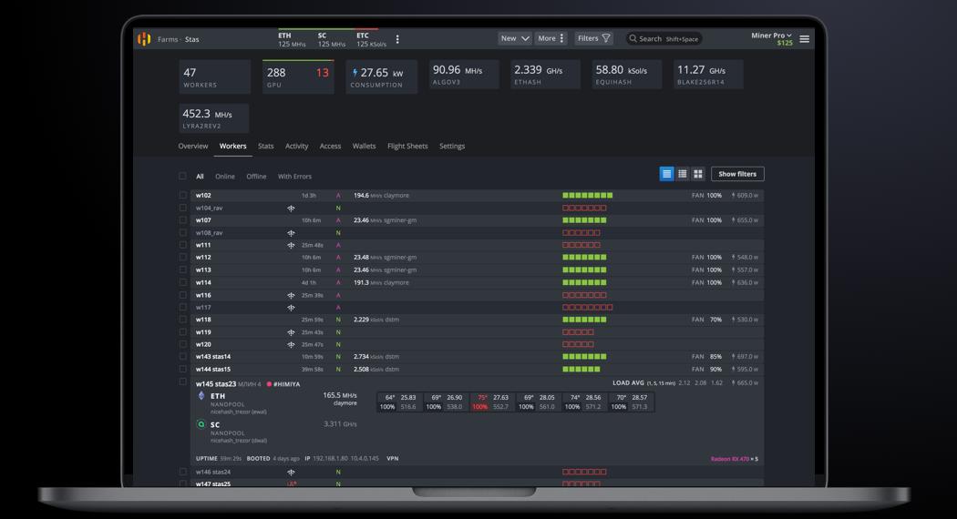 Imagen que muestra una captura del sistema tomada del Facebook de HiveOS.