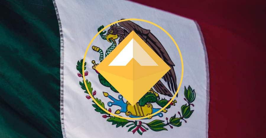 Logo de la stablecoin DAI superpuesto a la bandera de México. Imágenes por makerdao.com y Tim Mossholder / pexels.com