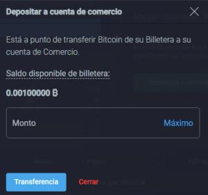 Transferir fondos a cuenta de trading
