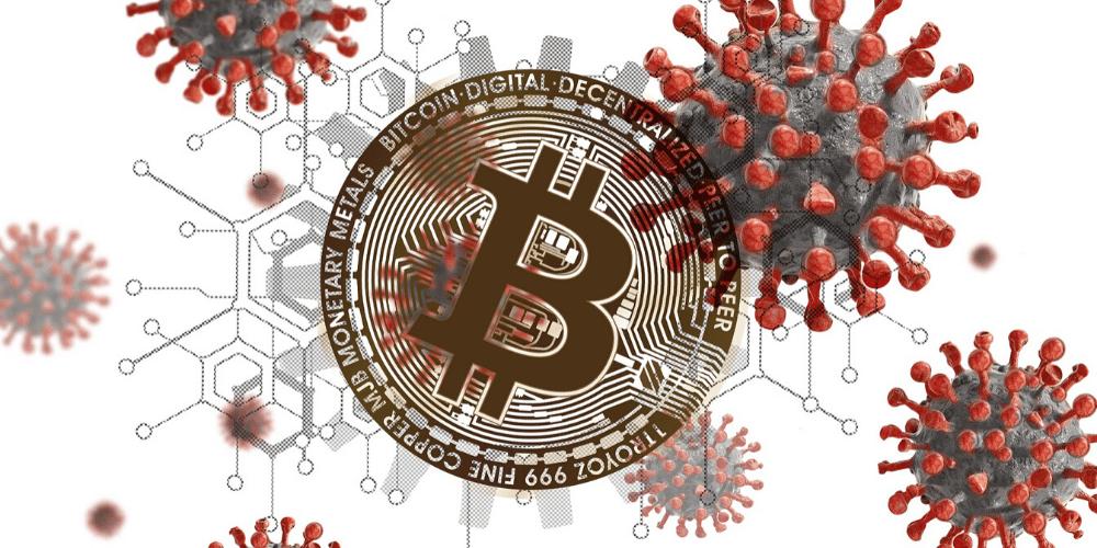 Un bitcoin entre coronavirus. Fuente: Geralt/ Pixabay.com