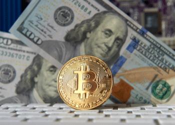 Un bitcoin y dólares. Fuente: byrdyak/ Envato Elements.