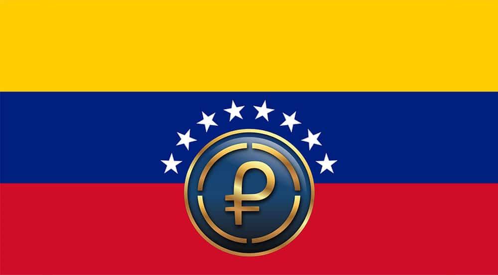 Petro sobre bandera de Venezuela. Fuente: commons.wikimedia.org y sunacrip.gob.ve
