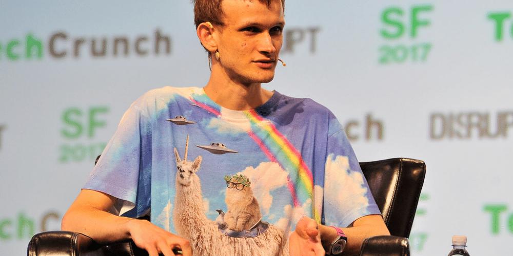 Vitalik Buterin en TechCrunch, con una de sus peculiares camisetas. Fuente: Steve Jennings/ TechCrunch.