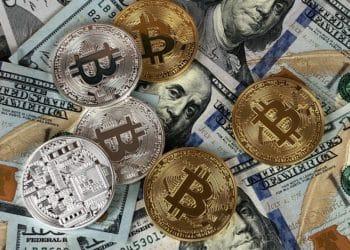 Billetes de dólar y monedas de bitcoin. Imagen: David McBee/pexels.com
