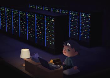 Un personaje del juego Animal Crossing sentado frente a una computadora y máquinas de minería. Fuente: Sthollis/ Reddit.