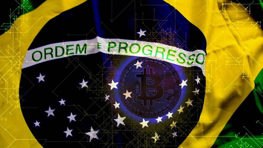 Plataforma blockchain sobrepuesta en la bandera a la bandera de Brasil. Composición  por CriptoNoticias. RAWKU5/freeimages.com jgjml/piqsels.com