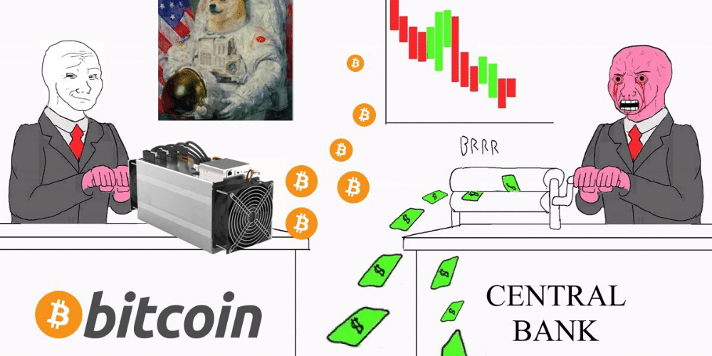 "Popular meme entre bitcoiners, conocido como ""MoneyPrintGoesBRRRR"". Fuente: brrr.money."