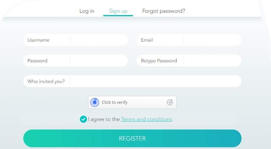 Pantalla de registro en la plataforma Elquirex