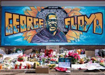 Mural alusivo a George Floyd cerca del sitio donde murió. Fuente: wikimedia.org