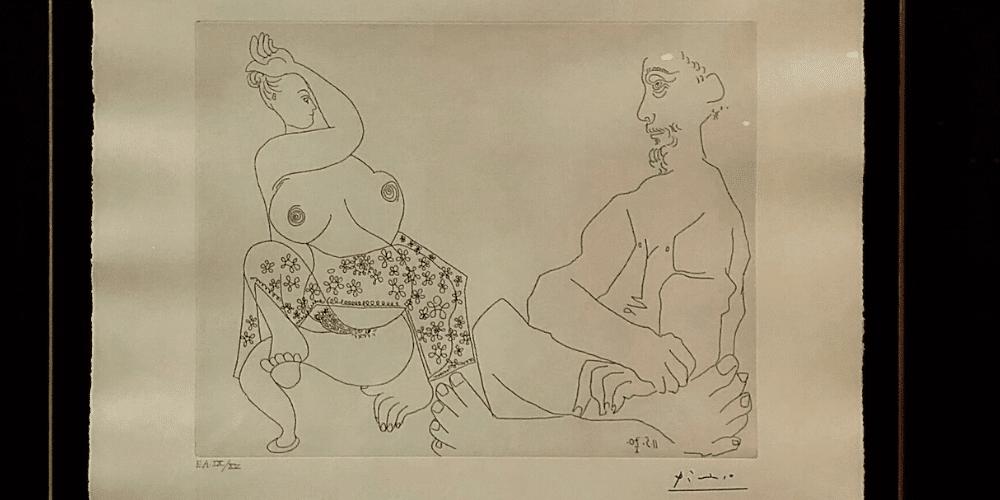 """El bosquejo titulado  """"Danza del vientre ante un hombre impasible"""". Fuente: Idoneus."""