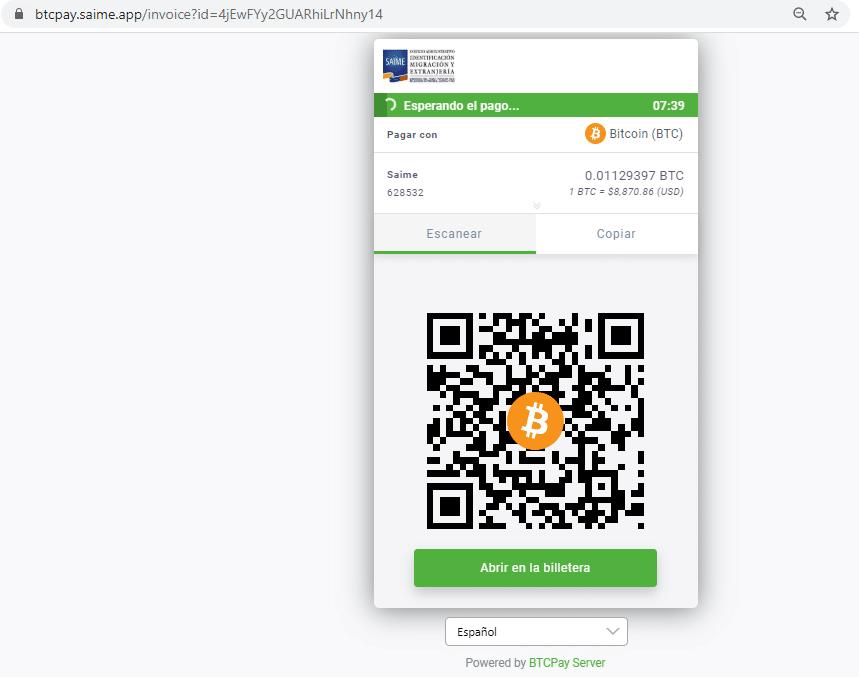 Btcpayserver venezuela Saime bitcoin pasaportes